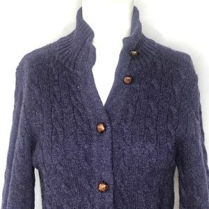 Ralph Lauren Rugby Leather Button Purple Cardigan